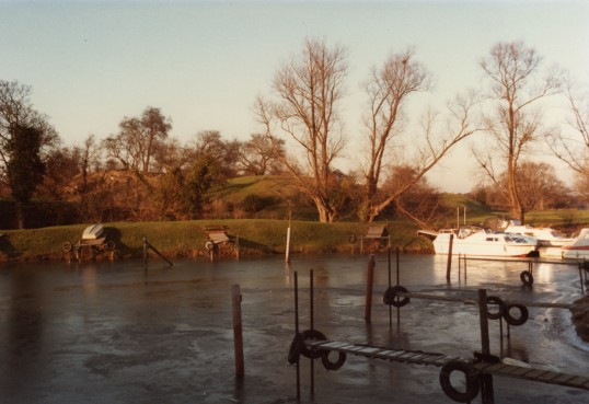 Eaton Socon Castle mound from the River Great Ouse in February 1986
