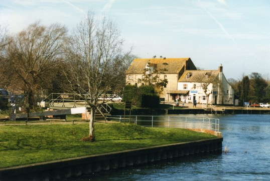 Looking from the weir towards Eaton Socon Rivermill in February 1999
