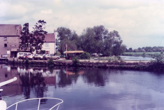 Looking across the marina in front of Eaton Socon Rivermill on the River Great Ouse in May 1982