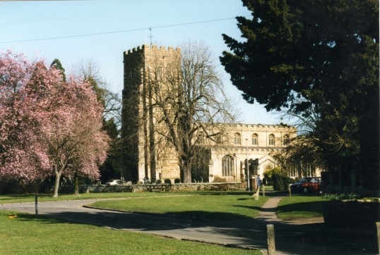 Eaton Socon Church - view across the village green in Springtime in February 1999
