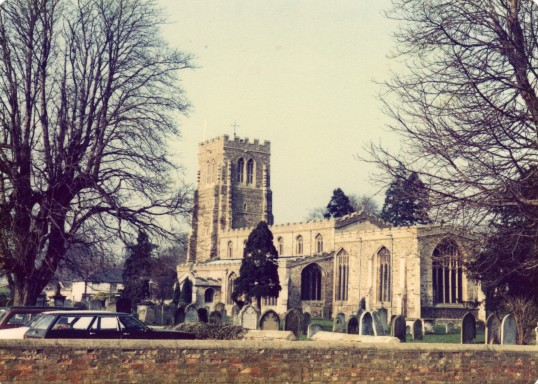 Eaton Socon Church - view from the old school playground in School Lane in February 1981