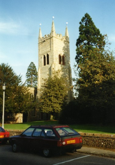Eynesbury, St Marys Church Tower in November 1997