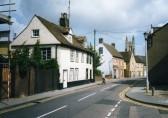 A quiet street scene along St Marys Street, Eynesbury, looking towards St Neots Church in July 1998
