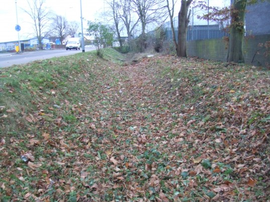 A small part of a ditch remaining alongside the Great North Rd outside the St Neots Windows, Little End Rd, Eaton Socon in November 2010