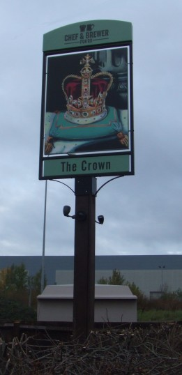 The new Crown sign erected in October 2010, 1 Great North Rd in Eaton Socon