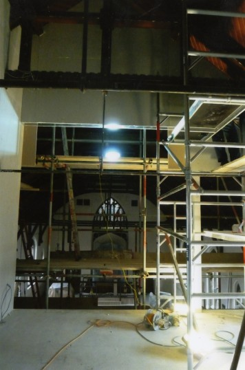 United Reformed Church, St Neots, scaffolding during the alterations (framework of the upper room in the gallery) in September 2010