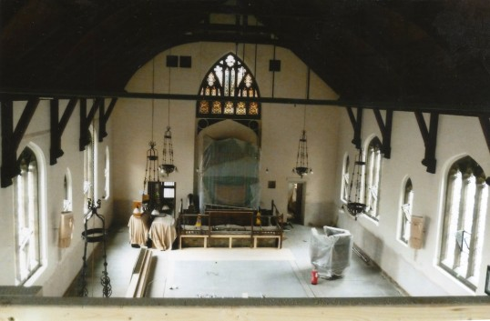 United Reformed Church in St Neots during building works on 10th August 2012 - view from the gallery