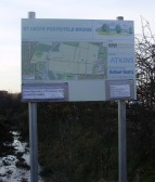 Information board just south of the Leisure Centre in Eynesbury for the new cycle/footpath bridge across the river in January 2011 (P.Ibbett)