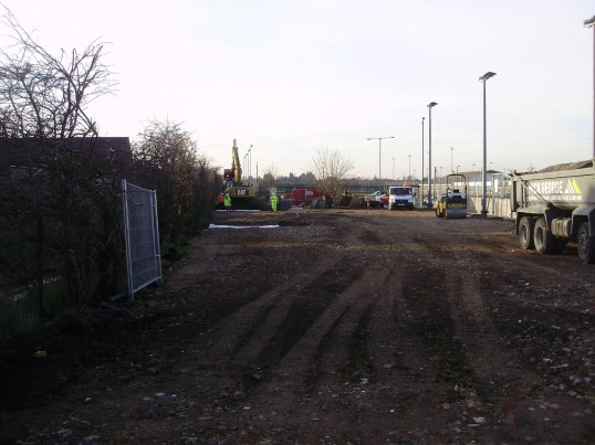 Work has begun in Eynesbury, just south of the Leisure Centre, on the access route for the new cycle/footpath bridge across the river in January 2011
