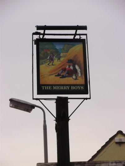 Merry Boys sign standing outside the empty closed public house in Eynesbury in January 2011 (P. Ibbett)