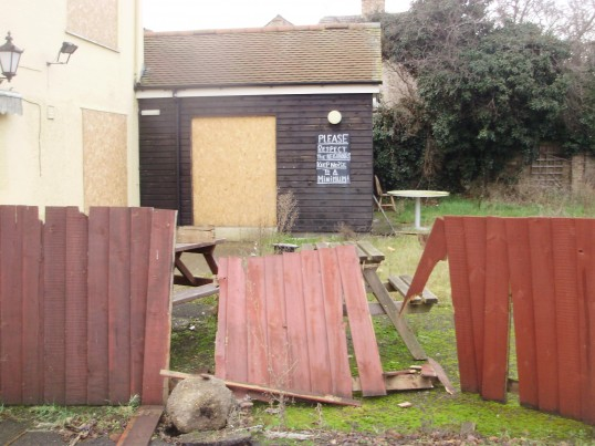 Part of the former garden area of the disused Merry Boys Public House in Eynesbury in January 2011(P.Ibbett)