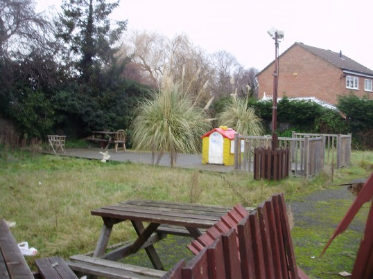 Part of the garden area of the disused Merry Boys Public House in Eynesbury in January 2011 (P.Ibbett)