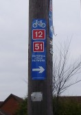 Cycle route sign on a telegraph pole near Milestone Close, Great North Rd, Eaton Ford, in January 2011 (P. Ibbett)