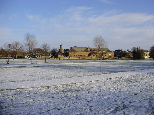 View across a snow covered Regatta Meadow looking towards St Neots (P.Ibbett)