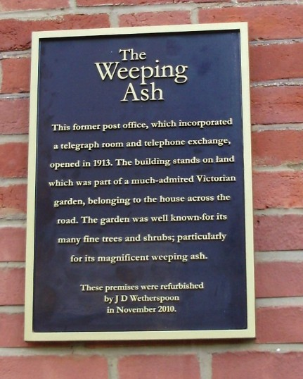 Information Plaque on the new Weeping Ash Public House in New Street, St Neots in December 2010 (P.Ibbett)