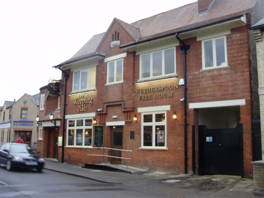The newly opened 'Weeping Ash' Wetherspoon Public House in New Street, St Neots in December 2010, in the former Post Office (P.Ibbett)
