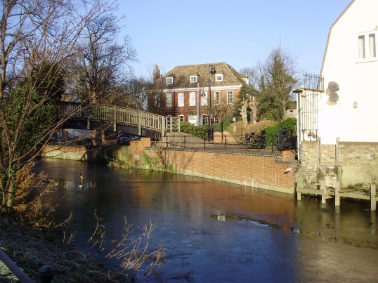 View of Brook House across Henbrook in St Neots in December 2010 (P.Ibbett)