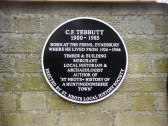 Historical plaque in Eynesbury to C G Tebbutt, local historian and business man, unveiled in November 2011 (P.Ibbett)