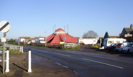 Circus tent in the Milk Field in New Street, St Neots in December 2010 (P.Ibbett)