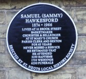Historical plaque to Sammy Hawkesford in Brook Street,  St Neots, unveiled in 2010 (P.Ibbett)