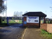 Entrance to Eynesbury Rovers Football Ground in Hall Rd, Eynesbury in November 2010 (P.Ibbett)