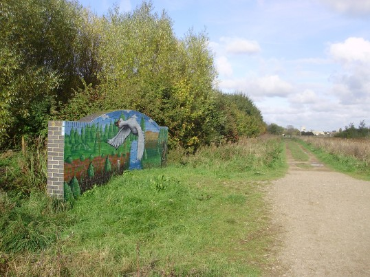 Mural on the side of a bridge in the Barford Pocket Park in Eynesbury in October 2010 (P.Ibbett)