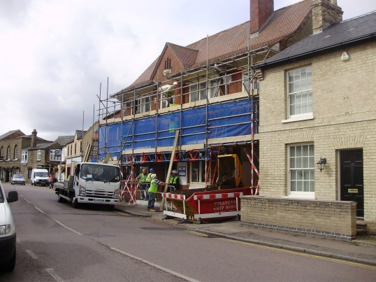Work begins on turning the former Post Office in New Street, St Neots, into a Wetherspoons pub in September 2010 (P.Ibbett)