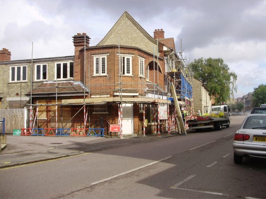 Scaffolding going up on the south side of the former Post Office in New Street, St Neots in September 2010 (P.Ibbett)