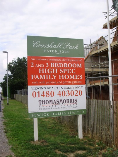 Crosshall Park sign for new houses next to Crosshall Manor in Eaton Ford in August 2010 (P.Ibbett)