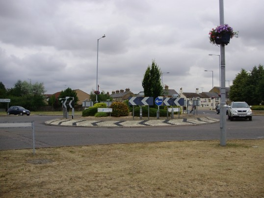 Looking towards the Riverside Roundabout in Eaton Ford from The Paddock in July 2010 (P.Ibbett)
