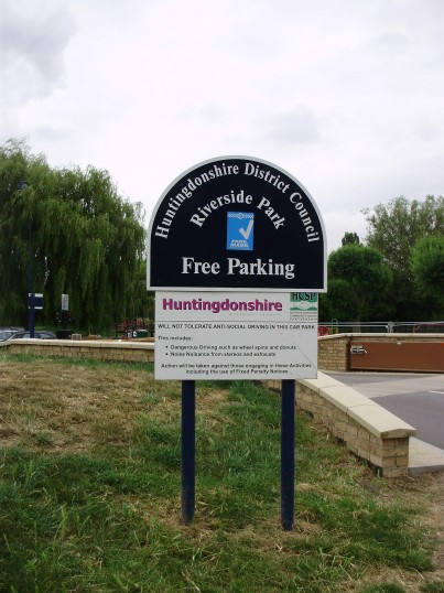 A Free Parking sign at the Riverside Car Park in July 2010 - about to become a pay and display car park (P.Ibbett)