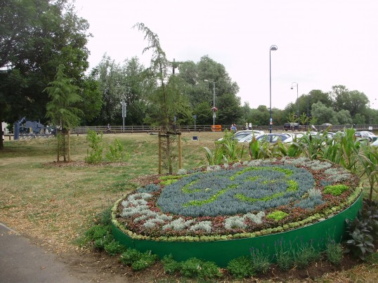 Flower bed near the Riverside Park in St Neots in July 2010 - to mark 100 years of Guiding (P.Ibbett)