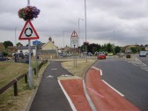 New cycle lane at St Neots Town Bridge across the River Great Ouse in July 2010 (P.Ibbett)