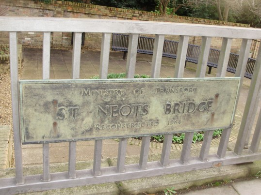 Plaque on St Neots River Bridge marking the reconstruction in 1964 across the River Great Ouse (P.Ibbett)