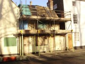 Beginning work to renovate an old building in Brook Street, St Neots in December 2010 (P.Ibbett)