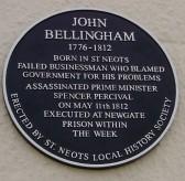Historical Plaque on Cross House in St Neots, for John Bellingham who assasinated Spencer Percival, Prime Minister (P.Ibbett)