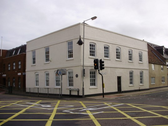 Cross House on the corner of Huntingdon Street and Cambridge Street in September 2011, used for a few years by the Open Door Church (P.Ibbett)