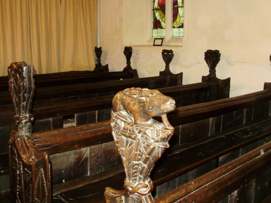 Eynesbury Church, St Marys - one of the carved pew ends in August 2009 - part of the Eynesbury Zoo (P.Ibbett)