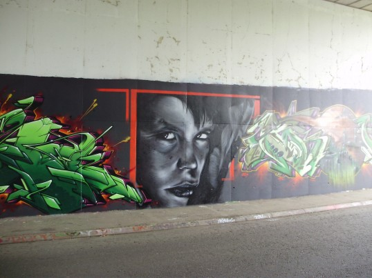 Part of the mural on the north side of the Duloe Underpass in Eaton Ford ion August 2009 (P.Ibbett)
