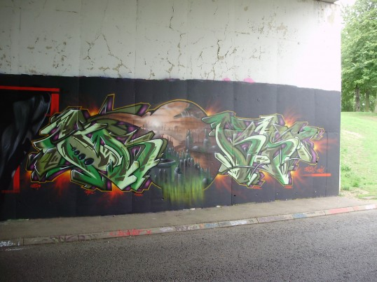 Part of the mural on the north side of the Duloe Underpass in Eaton Ford in August 2009 (P.Ibbett)