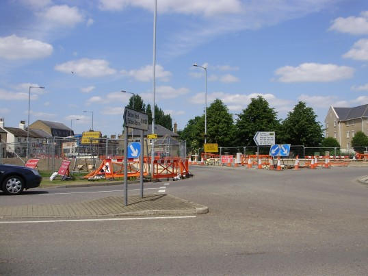 Works on the Riverside Roundabout during the Flood Defence works in Eaton Ford in June 2009 (P.Ibbett)