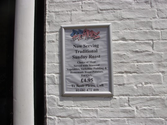 Menu at the Stripes Bar and Grill in June 2009, in the former Kings Head in South Street, St Neots (P.Ibbett)