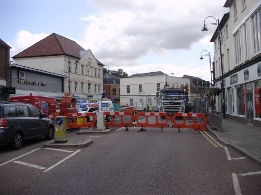 Barriers on St Neots High Street during the sewer works in July 2009 (P.Ibbett)