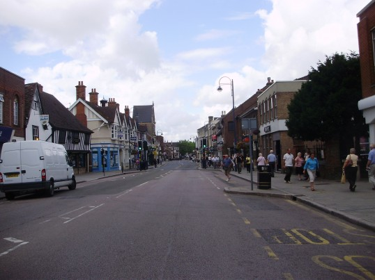 St Neots High Street closed during the sewer works in July 2009 (P.Ibbett)