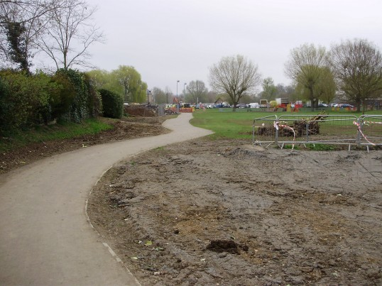 Filled in pond near path in the Riverside Park, in April 2009, where a bank will be built as part of the new flood defences (P.Ibbett)