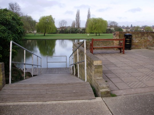 Steps down to the River Great Ouse next to the Priory Centre in St Neots, with Regatta Meadow across the river in April 2009 (P.Ibbett)