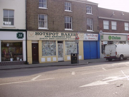 Hotspot Bakers in St Neots High Street, closed and awaiting new owners, in March 2009 (P.Ibbett)