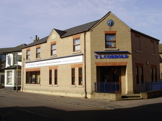 Cobbolds Funeral Directors in New Street, St Neots, on the site of the former Ireland brothers garage in March 2009 (P.Ibbett)