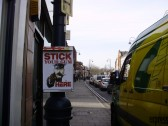 Stick up Your Gum sheets in St Neots High Street in March 2009 (P.Ibbett)