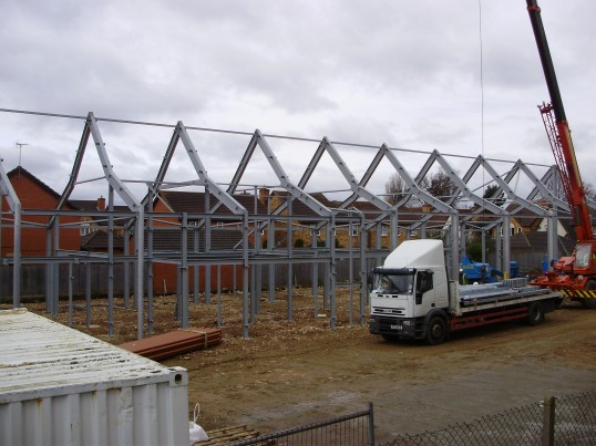 Framework of the Eatons Community Centre in March 2009 in Eaton Ford (P.Ibbett)